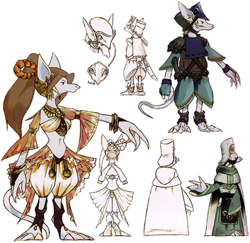 Concept art of several Burmecians, shown in the official FFIX Artbook